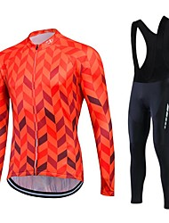 cheap -Fastcute Cycling Jersey with Bib Tights Men's Women's Unisex Long Sleeves Bike Clothing Suits Thermal / Warm Quick Dry Fleece Lining