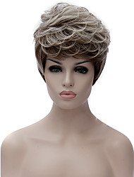 cheap -Synthetic Wig Curly Asymmetrical Haircut Synthetic Hair Natural Hairline Brown Wig Women's Short Capless