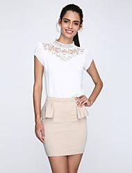 Damen Solide Sexy / Einfach Lässig/Alltäglich / Arbeit Bluse,Ständer Frühling / Sommer / Herbst / Winter Kurzarm Weiß Polyester / Andere