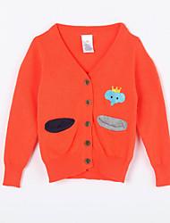 preiswerte -Pullover & Cardigan Alltag Solide Baumwolle Herbst Orange