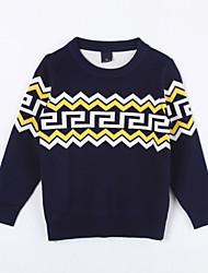 preiswerte -Mädchen Pullover & Cardigan-Lässig/Alltäglich Geometrisch Baumwolle Herbst Blau