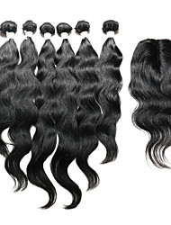 cheap -7 Pieces/Lot Natural Wave Hair Human Hair Weaves With Closure Color 1b Natural Black (14inch16inch18inch)