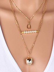 cheap -Women's Pearl Imitation Pearl Gold Plated Pendant Necklace Pearl Necklace Pearl Strands Layered Necklace Strands Necklace -