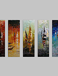 cheap -Hand-Painted Abstract / Abstract Landscape Five Panels Canvas Oil Painting For Home Decoration