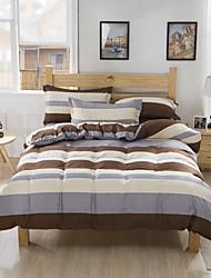 Bedtoppings Comforter Duvet Quilt Cover 4pcs Set Queen Size Flat Sheet Pillowcase Stripe Pattern Prints Microfiber