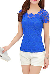 Women's Lace Going out Sexy / Boho Tanks,Solid Round Neck Short Sleeve Blue / Pink / Black Rayon Thin