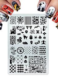 Недорогие -нержавеющей стали штамповкой для кошек Хэллоуин череп цветок бабочка пластины ногтя штамповочных ногтей