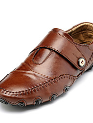 Men's Flats Spring / Fall Comfort / Round Toe Pigskin Casual Flat Heel  Black / Brown Walking
