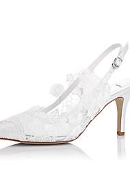 baratos -Mulheres Sapatos Tule Primavera Verão Sandálias Salto Agulha para Casamento Social Festas & Noite Ivory
