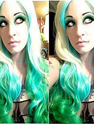 Donna Parrucche sintetiche Ondulati Verde Parrucche senza cappuccio costumi parrucche