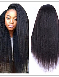 cheap -Coarse Italian Yaki Wig Brazilian Virgin Natural Color Kinky Straight Lace Front Human Hair Wigs For Black Women