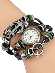 cheap -Women's Fashion Watch Wrist watch Bracelet Watch Quartz / Punk Leather Band Vintage Bohemian Bangle Casual Black White Blue Red Green
