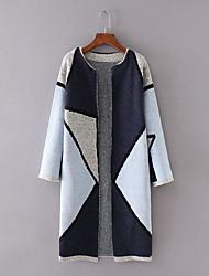 cheap -Women's Long Sleeves Cotton Cardigan - Color Block