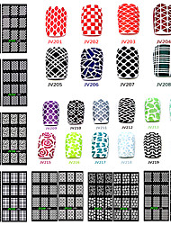 cheap -1pcs 3D Nail Stickers Nail Stamping Template Daily Matte Fashion High Quality