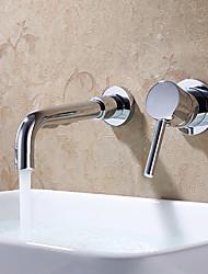 Современный На стену Широко распространенный Керамический клапан Два отверстия Одной ручкой Два отверстия Хром , Ванная раковина кран