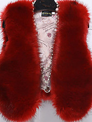 Women's Casual/Daily Simple Fur Coat,Solid V Neck Sleeveless Fall / Winter Red / Beige / Black / Gray / Purple Faux Fur / PU Medium