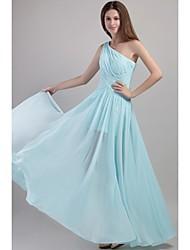 a-line un vestito chiffon dalla damigella d'onore di lunghezza del pavimento della spalla con le pieghe da xfls