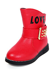 Girl's Boots Fall / Winter Riding Boots / Comfort PU Dress / Casual Flat Heel Rivet / Buckle Black / Pink / Red Walking
