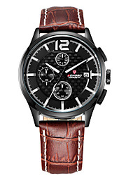 cheap -LONGBO Men's Quartz Wrist Watch Water Resistant / Water Proof / Noctilucent Leather Band Casual Black