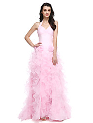 cheap -Ball Gown Halter Court Train Organza Formal Evening Dress with Flower Ruched Split Front by TS Couture®