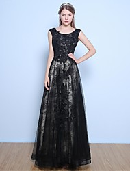 A-Line Jewel Neck Floor Length Lace Satin Tulle Formal Evening Dress with Beading Flower(s) Sequins by Yaying