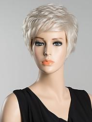 Недорогие -жен. Человеческие волосы без парики Белый Короткий Прямые Стрижка под мальчика С чёлкой Боковая часть