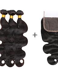 cheap -Brazilian Hair Bundles Virgin Human Hair Body Wave Human Hair Weaves 4 Pieces Lace Closure Hot Sale Natural Color Hair Weaves