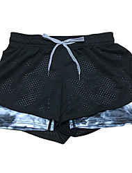 Women's Mesh Hollow Out Elastic Waist Quick Dry Sports Fitness Running Yoga Shorts with Safety Pants