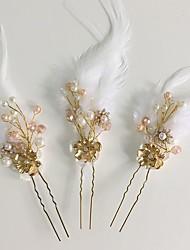 economico -stile elegante del copricapo del perno dei capelli dei capelli della lega di piuma acrilica del rhinestone