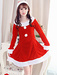 Women Santa Claus Red Long - sleeved Stitching Color Skirt Hat Cosplay Suits