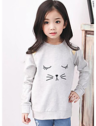 Girl Casual/Daily Animal Print Hoodie & Sweatshirt,Cotton Fall Long Sleeve Regular
