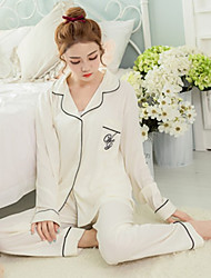 economico -grazioso pigiama da donna a due pezzi, conton, stampa di moda, 2 colori
