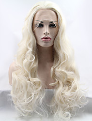 Women Synthetic Wig Lace Front Long Wavy Light Blonde Natural Hairline Middle Part Natural Wigs Costume Wig