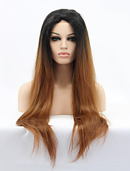 Sylvia Synthetic Lace front Wig Black Brown Ombre Hair Heat Resistant Long Straight Synthetic Wigs