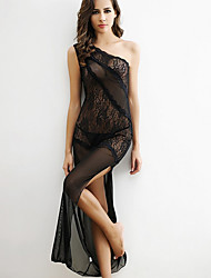 cheap -Women Shoulder Oblique Slit Sexy Black Transparent Lace Nightclub Dress Lingerie