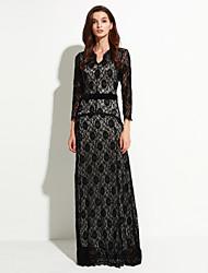 сладкий кривой женщин праздник / плюс размер Boho труба / русалка платье, польки асимметричный макси ¾ рукав черный спандекс летом