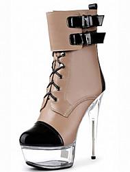 Da donna-Stivaletti-Formale Casual Serata e festa-Plateau Club Shoes Light Up Shoes-A stiletto-Finta pelle-Nero Trasparente Caffè