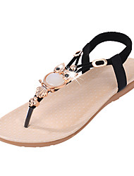 cheap -Women's Shoes PU Summer Comfort Sandals Flat Heel Crystal Gore for Black Beige Blue