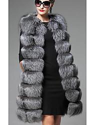 Manteau en Fourrure Femme,Couleur Pleine Décontracté / Quotidien / Grandes Tailles simple Sans Manches Gris Fausse Fourrure