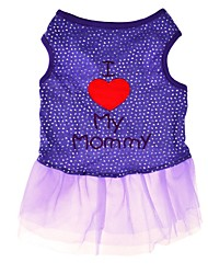 Elegant Pink Purple I Love My Mommy Cotton Dog Dress for Pets Dogs Summer Dog Clothes