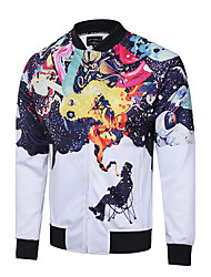 cheap -Men's Sports Street chic Slim Jacket - Rainbow, Print Stand