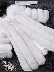 cheap -Women's Vintage Plus Size Fur Coat - Solid Colored
