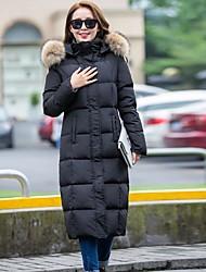 お買い得  -女性用 ソリッド 日常 カジュアル ロング ダウン 長袖 フード付き 冬 コットン