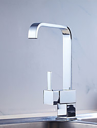 cheap -Contemporary Art Deco/Retro Modern Tall/­High Arc Standard Spout Pull-out/­Pull-down Vessel Pre Rinse Widespread Rotatable Ceramic Valve