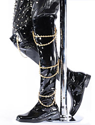 cheap -Men's Boots Spring/Fall/Winter Cowboy/ Western Boots / Fashion Boots Patent Leather Party & Evening /Casual Chain Black