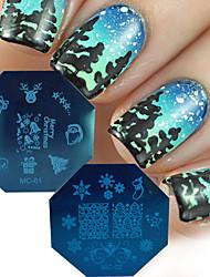 nouvelles 2016 série noël nail art modèles de timbre diy père noël clous claus arbre décor manucure Conseils estampage plaques MC01 / 02