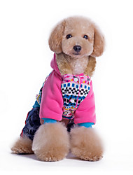 cheap -Dog Hoodie Jumpsuit Dog Clothes Flower Blue Pink Cotton Costume For Pets Men's Women's Casual/Daily Keep Warm
