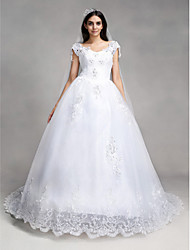 Ball Gown V Neck Chapel Train Lace / Tulle Made To Measure Wedding Dresses  With Beading / Sequin / Appliques By