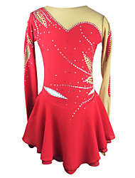 cheap -Figure Skating Dress Women's Girls' Ice Skating Dress Red Rhinestone High Elasticity Outdoor clothing Performance Skating Wear Handmade