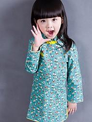 abordables -Robe Fille de Quotidien Fleur Coton Printemps Automne Manches Longues Fleur Vert Bleu